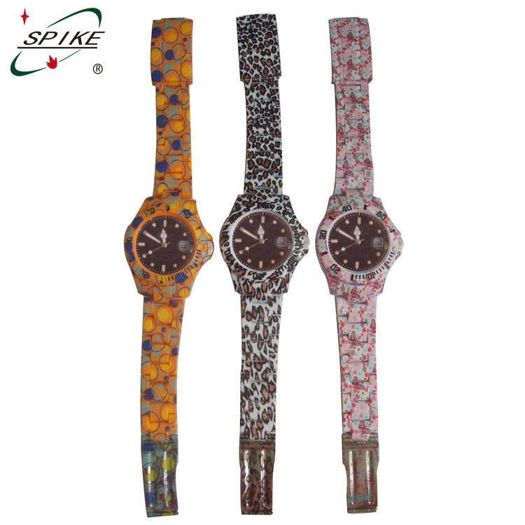 Promotional women floral silicone watch China watch factory