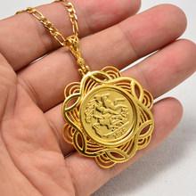 Annayoyo 24K Великобритания Джордж V ожерелье монеты Ювелирная подвеска для мужчин и женщин Британский памятный значок ювелирные изделия подаро...(Китай)