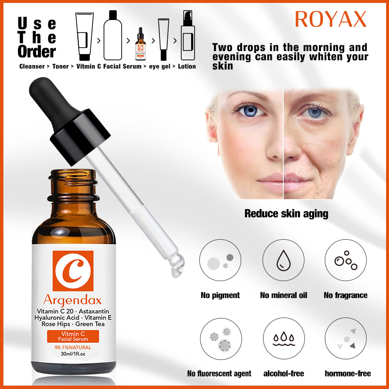 ARGENDAX Private Label OEM Face Skin Care 20% Vitamin C Serum With Hyaluronic Acid