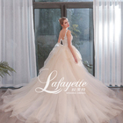 2020 light champagne Lace Beaded Wedding Dress V-neck sleeveless wedding dress illusion backless prom dress with cathedral train