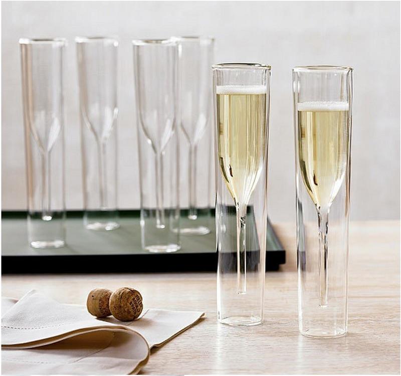 Champagne Glas Double Wall Bril Fluiten Goblet Bubble Wijn Tulip Cocktail Bruiloft Cup Toast Bodum Thule Xicaras Copo