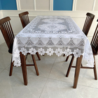White Table Cheap Korean Style White Translucent Lace Rectangle Table Cloth For Bar