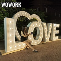 WOWORK custom LED light prop event rental letter backdrop for wedding party decoration