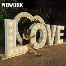 Wowork Custom Led Light Prop Evenement Verhuur Brief Achtergrond Voor Wedding Party Decoratie