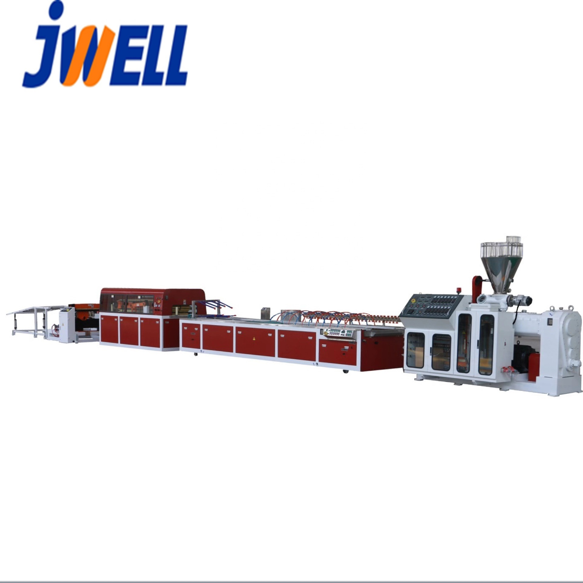 JWELL-Hot sales 600mm breedte PVC Hout plastic muur board/panel extrusie machine