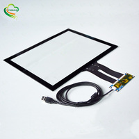 YUNLEA Chip on the EETI ILITEK controller board 15 inch touch screen panel projected capacitive with tempered glass
