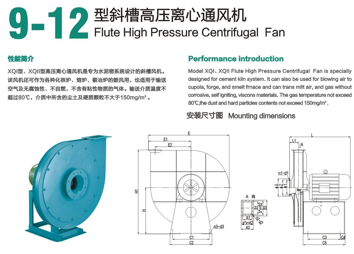9-12 Flute high pressure industrial boiler centrifugal fan