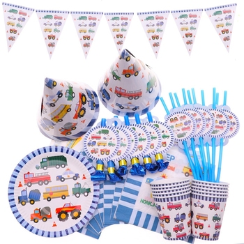 YOT Ramadan Cartoon Cars Trucks Theme All Party Decorations Cups Plates Disposable Tableware Baby Shower Party Supplies