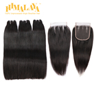 Himalaya Super Double Drawn Straight Human Hair Bundles Brazilian Raw Virgin Cuticle Aligned Hair Wefts Extensions with Closures