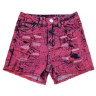 colors denim shorts rips for women casual wear