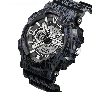 Factory selling  5ATM waterproof men camouflage color analog digital watch