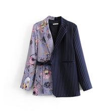[DEAT] Женский блейзер в полоску с принтом в стиле пэчворк, новая свободная куртка с отворотом и длинным рукавом, весна-осень 2020, ZA3859(Китай)