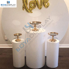 Wedding Perfect Quality White Cylinder Plinths Display Acrylic Wedding Round Set Of 5 For Sales