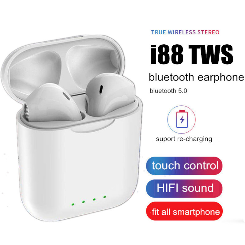 2019 Colorful TWS Bluetooth 5.0 Stereo Earbuds Wireless Earphones I88 Tws With Charging Case Headphones For Apple & Android