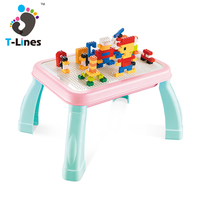 Kids multifunctional learning toy building block study table