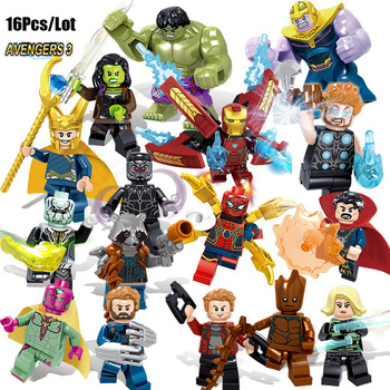 16pcs Compatible legoe Avengerse Infinity War mini figures Thanos Iron spider man Thor war machine building blocks Kid Toy