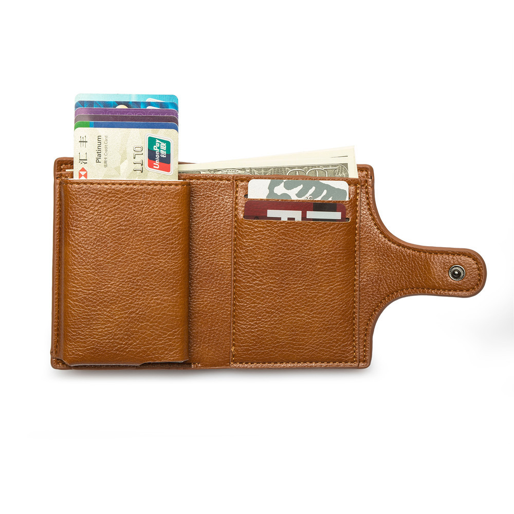 Newest modern style mini 지갑 small card holder RFID 보호 소 leather magnetic credit card holder