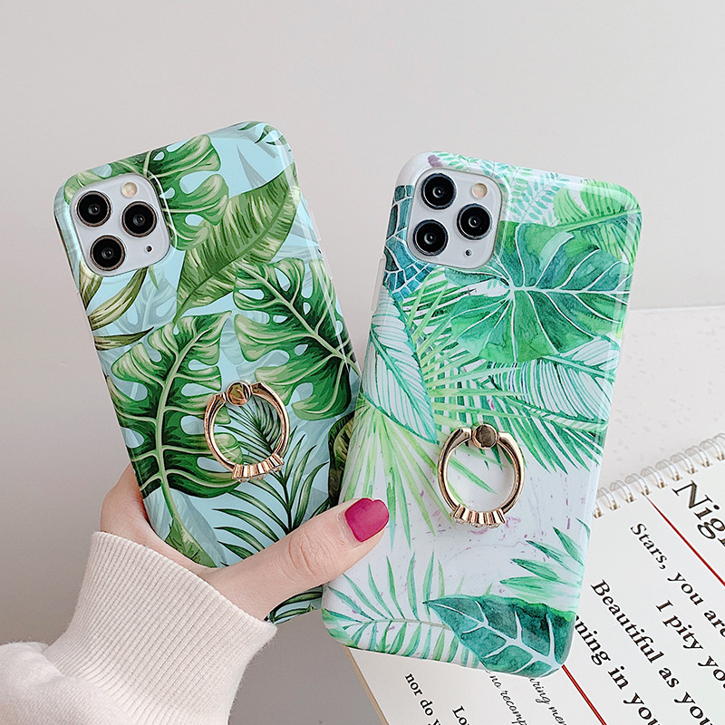 for iPhone 6 to 11 pro max 2020 Soft TPU IMD Green Banana Leaf Phone Case With Metal Ring