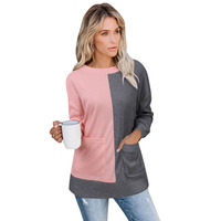 Casual Winter Clothes Women Casual Long Sleeve Knit Oversized Sweater Pullover with Big Pockets