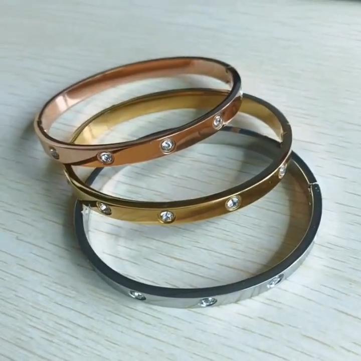 Shinmecylife — bracelet pour femmes, bijou en acier inoxydable, style classique, à la mode, ovale, en Zircon, en or 18k