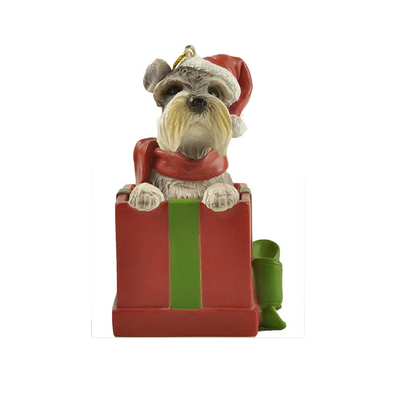 Christmas gift Shih tzu dog in gift box ornament living room table accessories