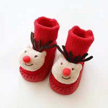 Рождественские носки-тапочки для новорожденных мальчиков и девочек Нескользящие носки для малышей Спортивная обувь для бега кроссовки Дет...(China)