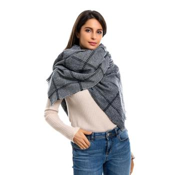new design knitted tassel stripe plaid cashmere winter women pocho warm infinity scarf