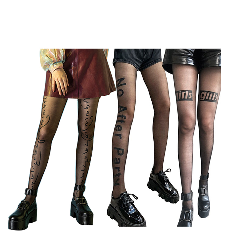 Fashion Technican Summer Custom Printed Stocking Women Letters Pantyhose