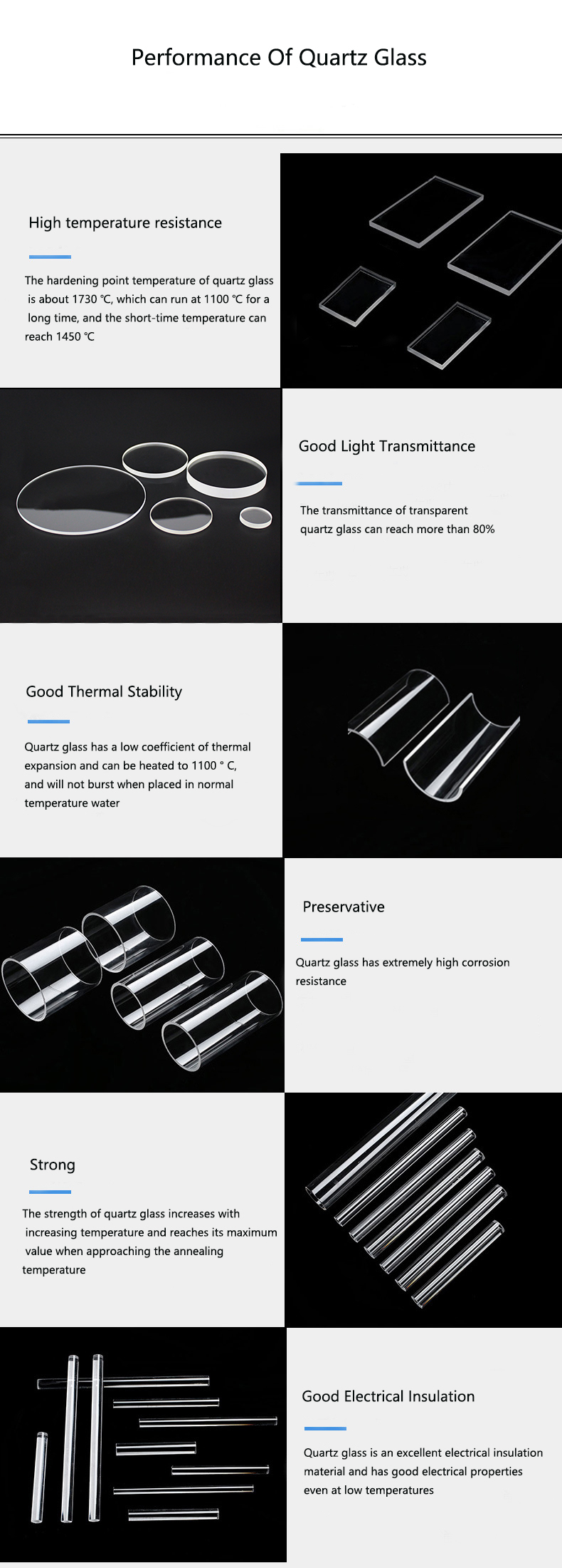 High pressure clear fused double hole quartz glass tube for uv lamp
