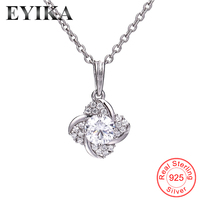 EYIKA New 925 Sterling Silver 5A Cubic Zirconia Necklace single white cz flower Elegant Pendant Necklace for Women