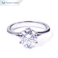Tianyu Gems 1.5ct Colorless Lab Created Moissanite Diamond 14k engagement /promise ring
