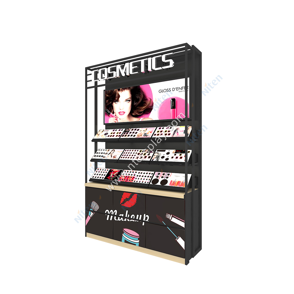 Alışveriş yüksek kalite özel raf ürün perakende Metal kozmetik makyaj malzemesi teşhiri standı