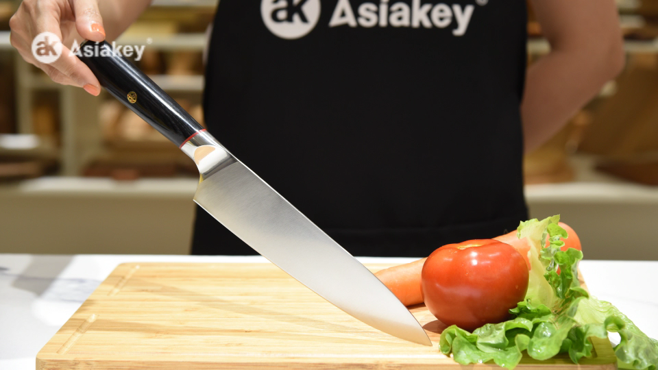 Custom made 8 inch chef knife kitchen with 2 color g10 handle