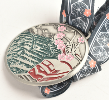 High quality  Custom Sports Award antique silver Metal Medal with Ribbon
