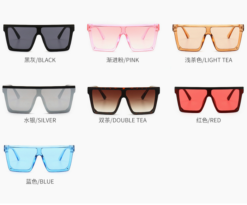 2020 Qmoon Big Square Mirror Lenses Gradient Shades Women Conjoined Reflective Promotional Sunglasses