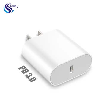 US plug 18w quick charging UL certificate flat slim casing fast pd type c USB charger for iphone ipad apple
