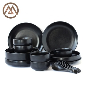 Black Creative Ceramic Frosted Plate Dishes Set of Dishes table service Dinnerware Set Dinner Set Plate Tray