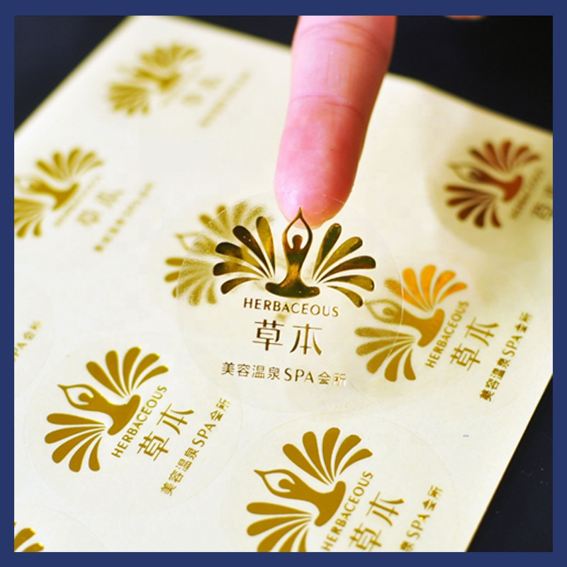 Custom Embossed Logo with Adhesive Gold Metal Label Sticker for wine and sparkling