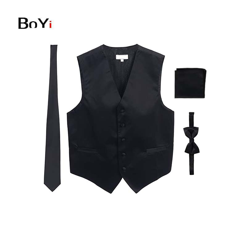 Men's Formal 4pc Satin Vest Necktie Bowtie and Pocket Square