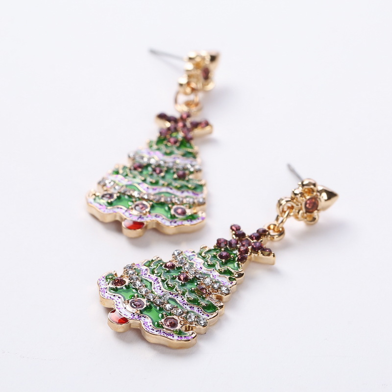 Latest Festival Jewelry Multi Color Crystal Christmas Tree Earrings Red Rhinestone Crystal Star Earrings For Holiday Xmas
