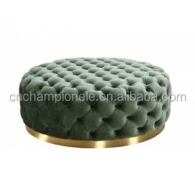 Modern green Velvet Tufted with button Ottoman with gold base