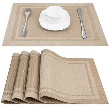 Beige Heat-Resistant Stain Resistant Anti-Skid Washable PVC Table Mats Woven Vinyl Placemats