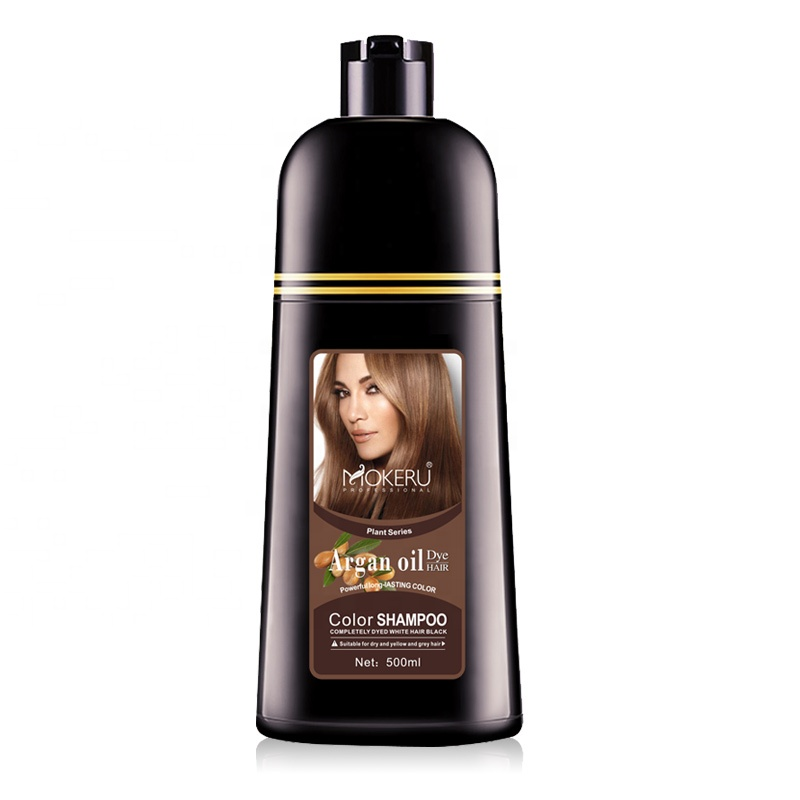 Drop shipping Mokeru Natural Argan Oil Essence Fast <strong>Hair</strong> <strong>Color</strong> Shampoo For Women Dry <strong>Hair</strong> Dye Permanent Shampoo For Grey <strong>Hair</strong>