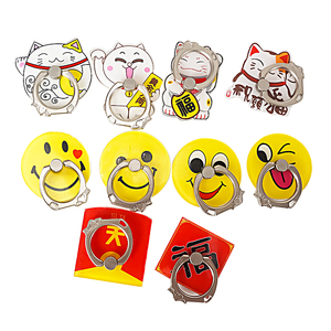 Hot Sell Cute yellow smiling face finger ring Customized Cartoon Acrylic Mobile Phone Cellphone Customized Holder Ring
