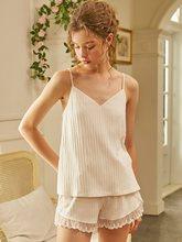 Женские летние хлопковые пижамы без рукавов, розовые/белые шорты, пижамные комплекты, сексуальные тонкие костюмы для сна(Китай)