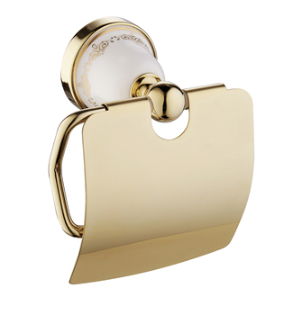 gold plated decorative patterns ceramic metal wall mounted toilet paper holder for bathroom