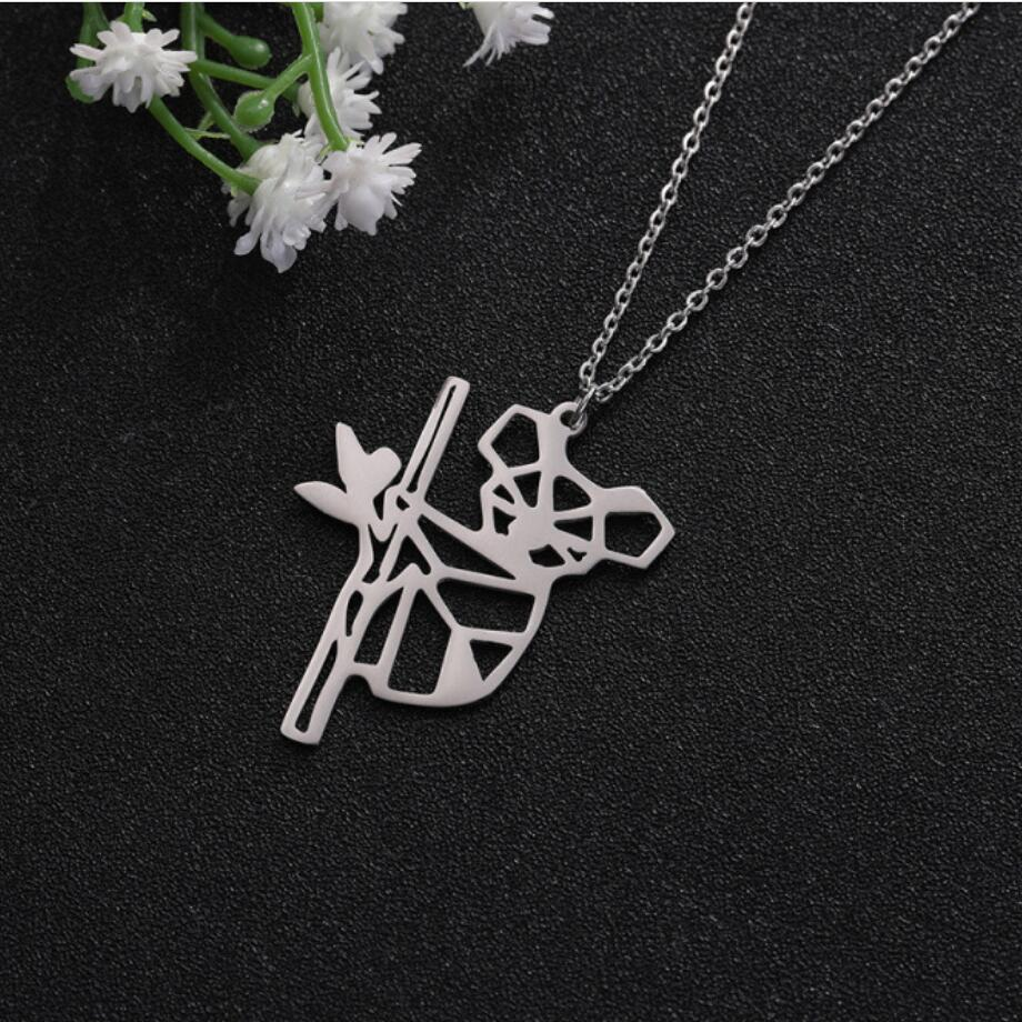 Trade Assurance New Simple Stainless Steel Jewelry Hollow Drop Shaped Pendant Necklace for Women's Accessories Wholesale