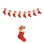 Xmas Christmas Garland Red Stocking Paper Christmas Garland Modern Design Decorations Pre-decorated Christmas Garlands