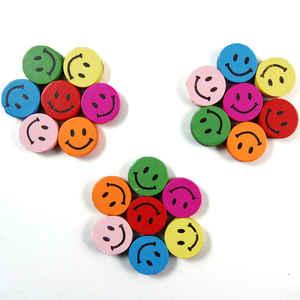50 pcs Handicraft Round Cartoon Smile Face Colorful Natural Wood loose Beads For Jewelry Making