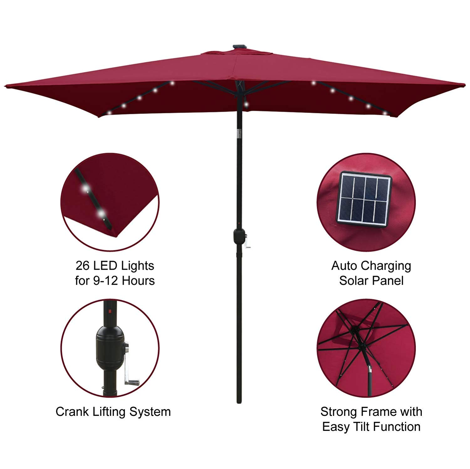 ABCCANOPY Rectangular Outdoor Solar Powered Patio Umbrella with 26 LED Lights, 6.6 by 9.8 Ft
